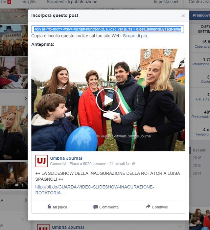 incorporare video facebook su 3